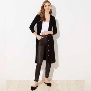 NWT Loft Black Button Front Pocket Long Cardigan